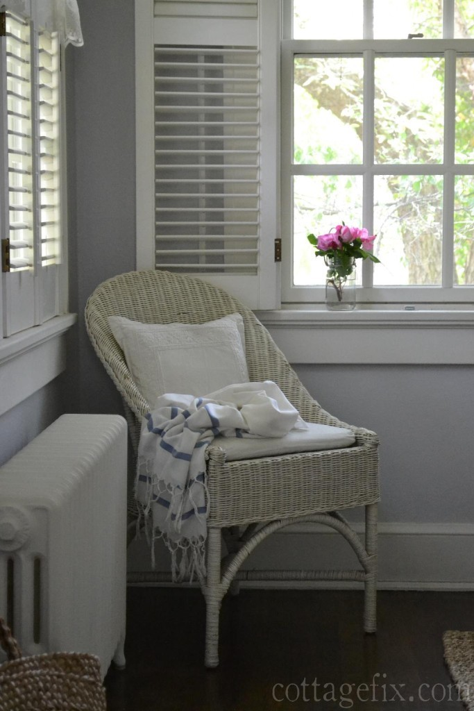 Cottage Fix blog - silvery gray on the walls with white wicker and pink roses