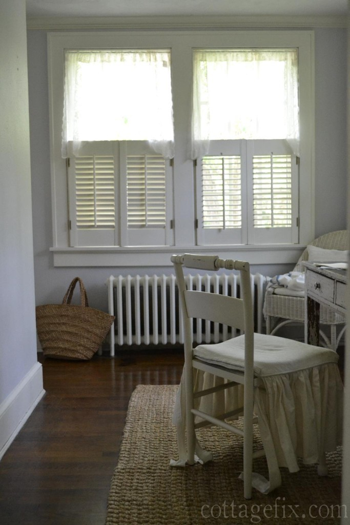 Cottage Fix blog - lace valances and wooden shutters
