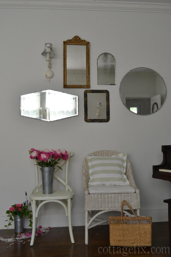 Cottage Fix blog - collection of vintage mirrors and pink peonies