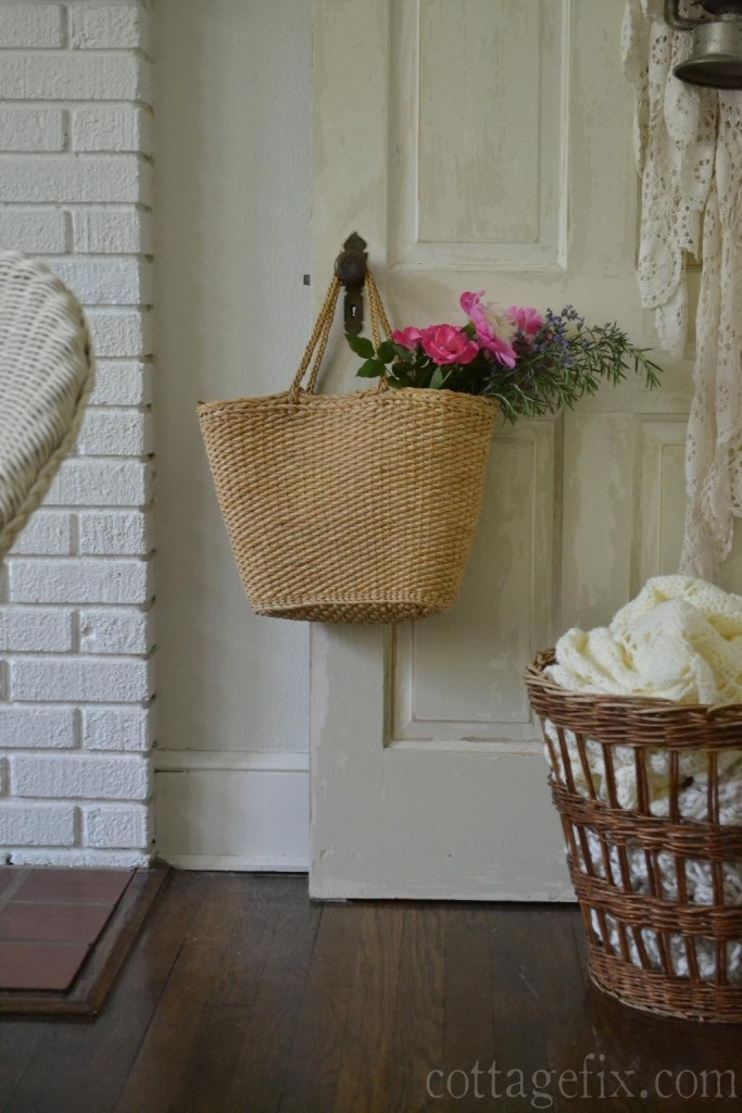 Cottage Fix blog - roses, peonies, and rosemary in a market tote