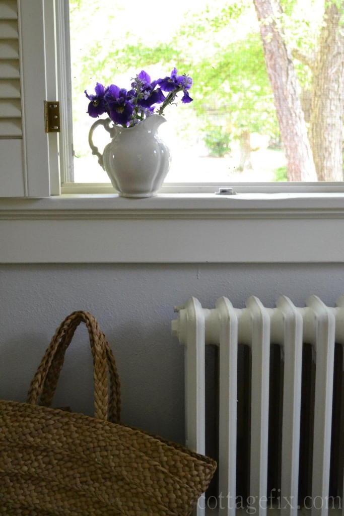 Cottage Fix blog - pitcher of purple irises on the windowsill