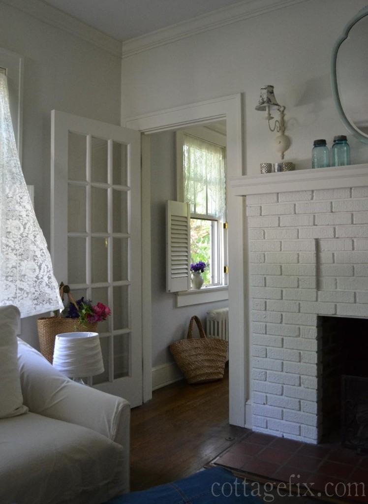 Cottage Fix blog - whites, grays, and lace curtains in the breeze