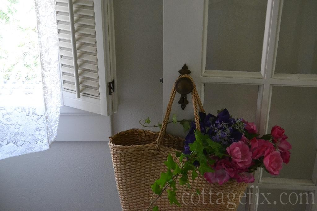 Cottage Fix blog - straw tote with pink roses and purple irises