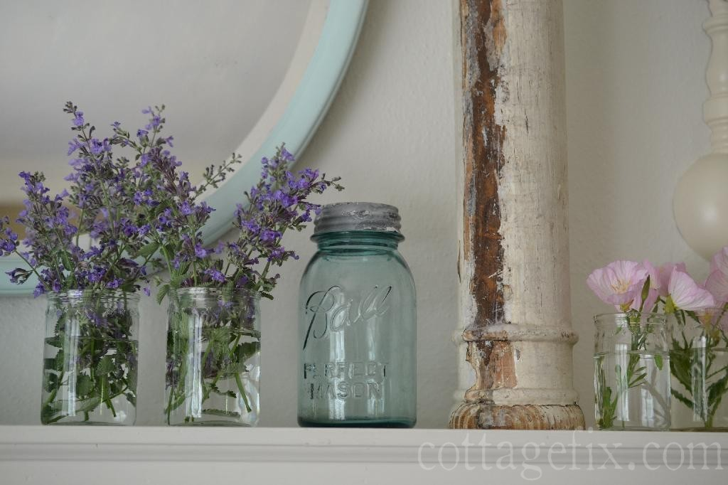 Cottage Fix blog - jars and flowers spring mantle