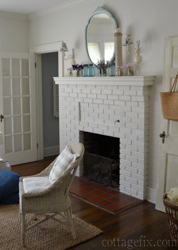 Cottage Fix blog - spring mantle in the living room