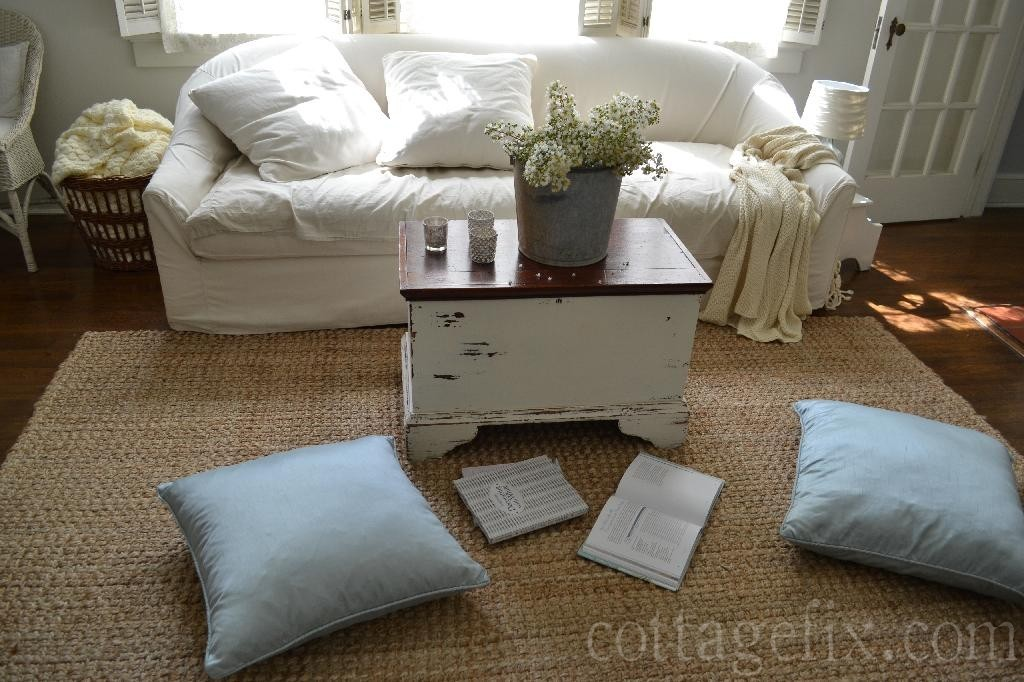 Cottage Fix blog - white living room with floor pillows