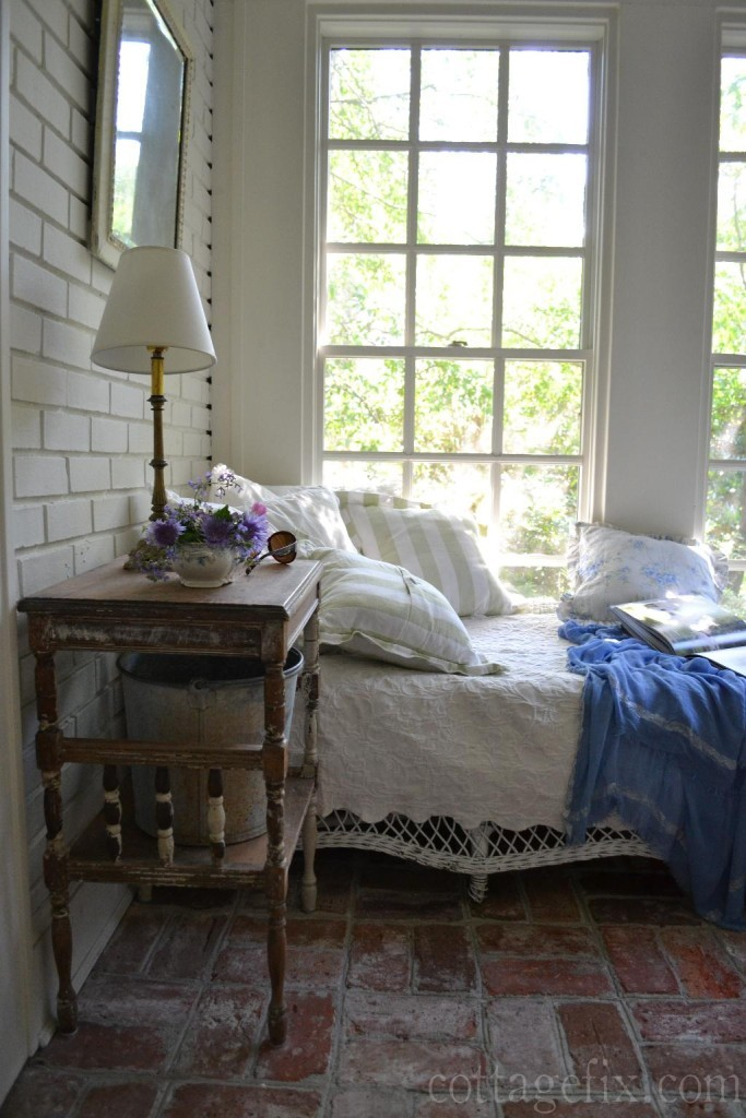 Cottage Fix blog - shabby chic reading corner on the sun porch