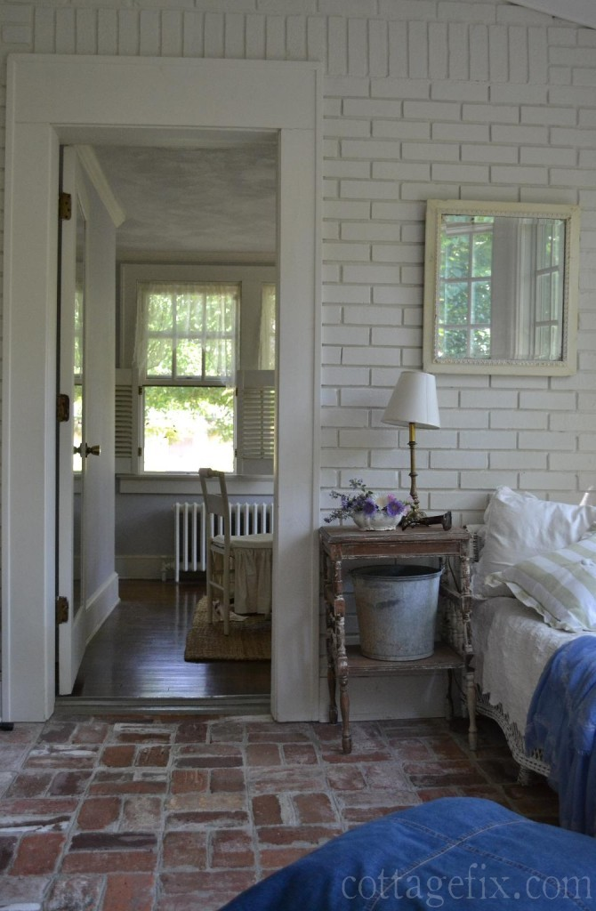 Cottage Fix blog - shabby chic sun porch and doorway to office