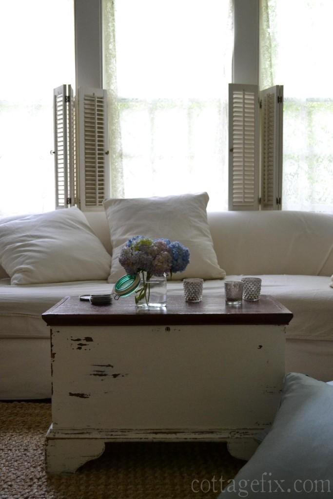 Cottage Fix blog - pillows and hydrangeas
