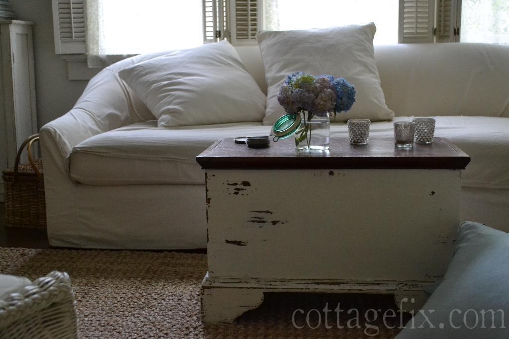 Cottage Fix blog - white slip sofa and hydrangeas