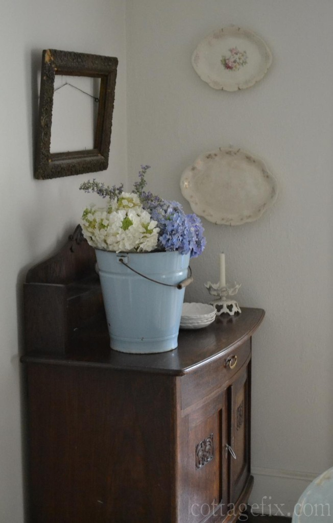 Cottage Fix blog - blue enamel bucket filled with blues