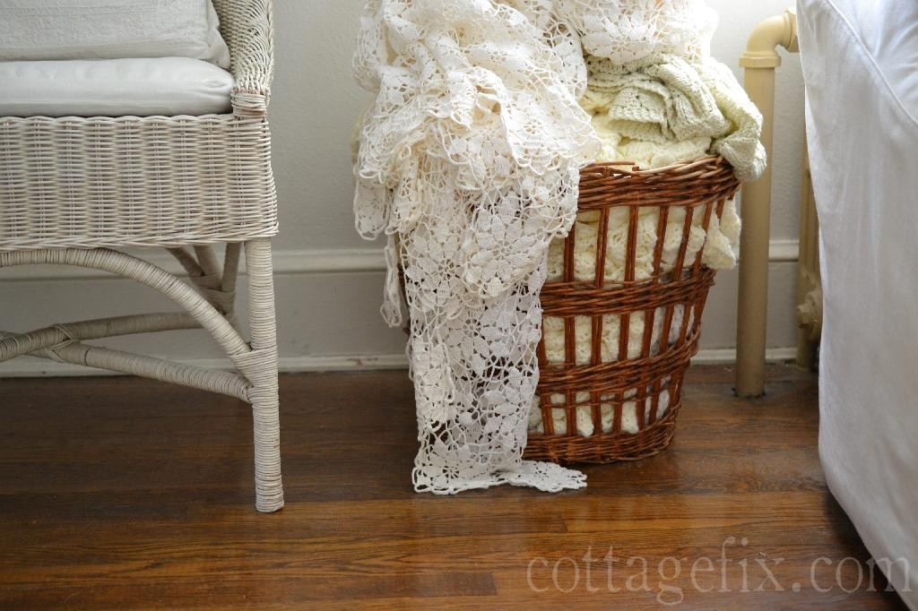 Cottage Fix blog - rustic basket and summer whites