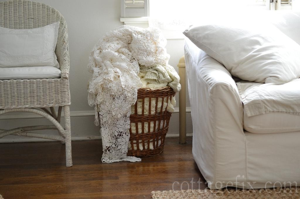 Cottage Fix blog - whites, crochet, and a rustic basket