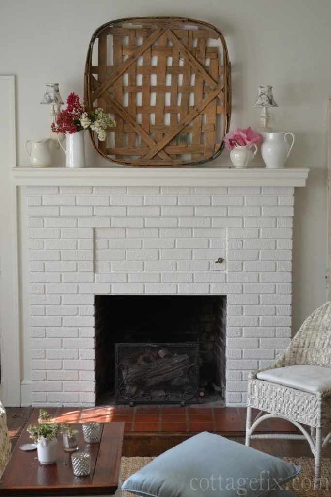 Cottage Fix blog - large tobacco basket focal point over mantle