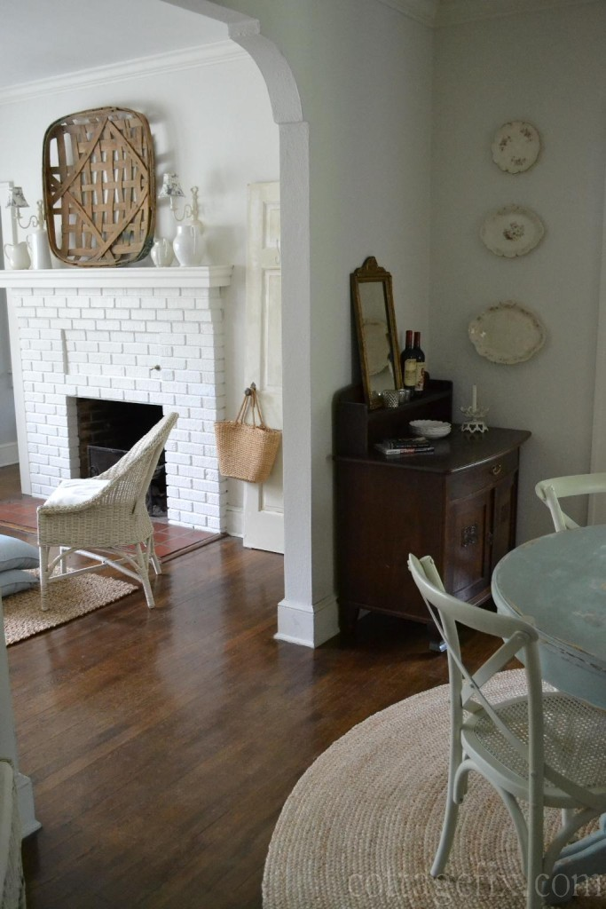Cottage Fix blog - white painted walls, natural fiber rugs, tobacco basket