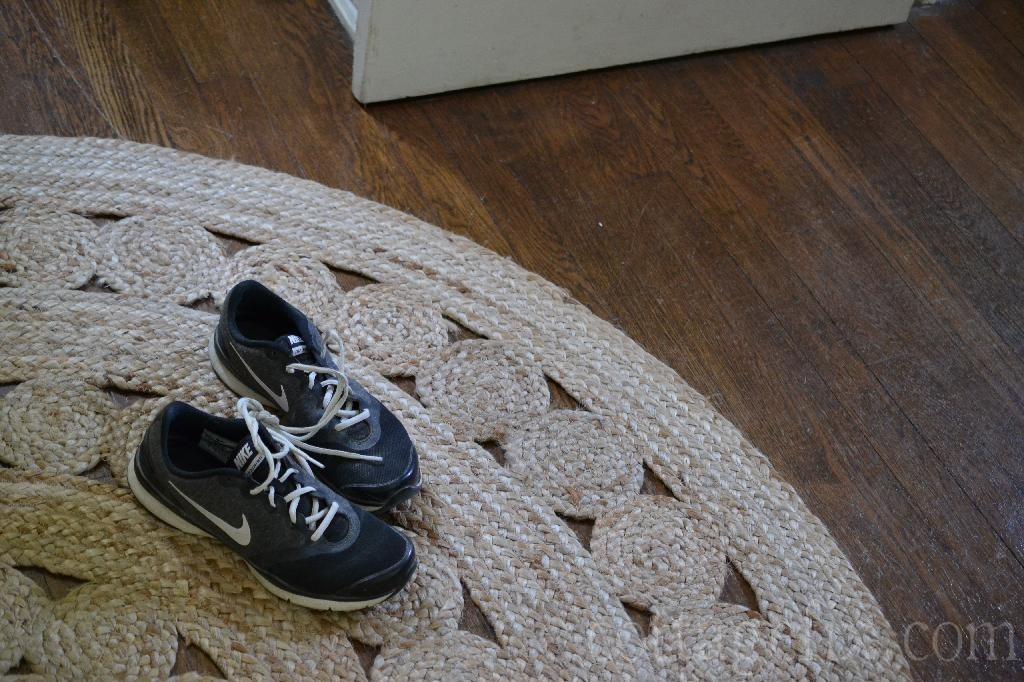Cottage Fix blog - natural fiber rug and Nikes