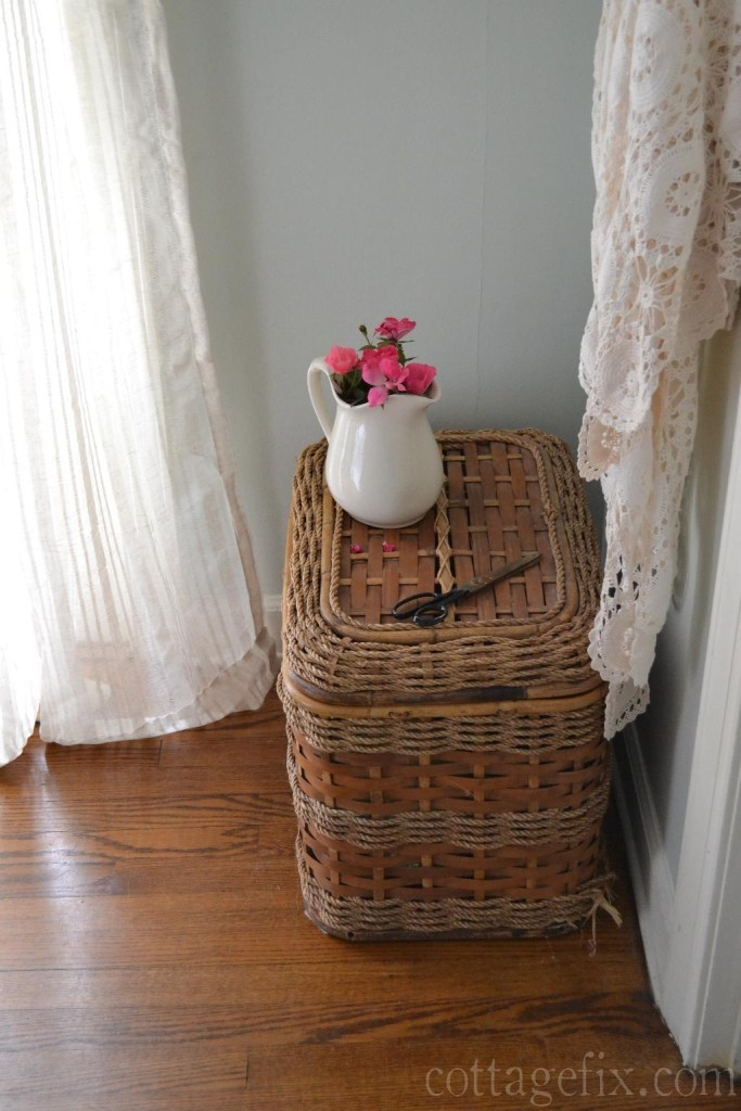Cottage Fix blog - barely blue wall color, pink roses, and warm whites