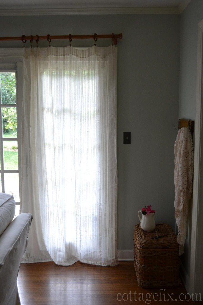 Cottage Fix blog - barely blue wall color and creamy white drapes