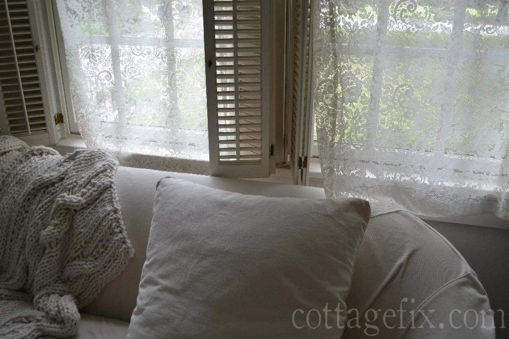 Cottage Fix blog - vintage white window panels