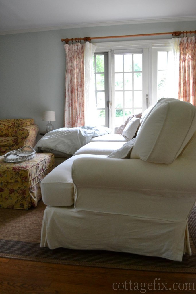 Cottage Fix blog - toile window panel and floral chair