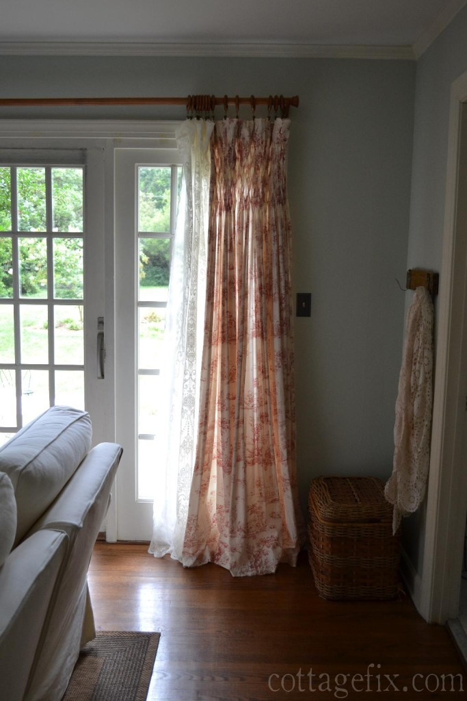 Cottage Fix blog - toile and lace window panel