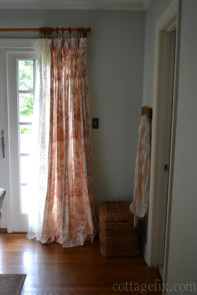 Cottage Fix blog - toile and lace window panels