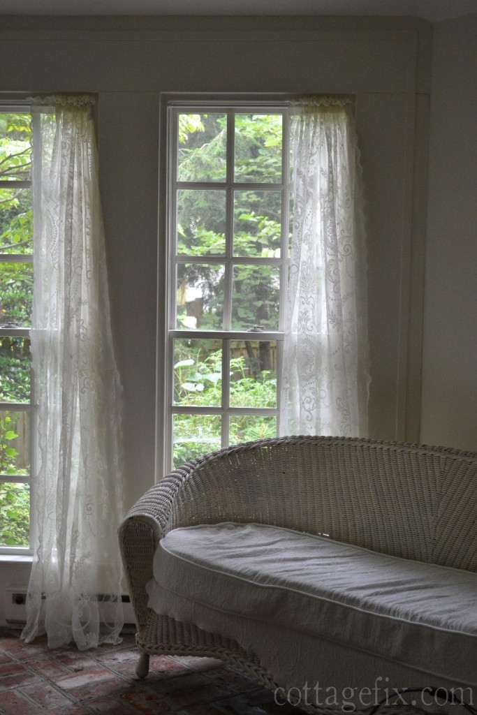 Cottage Fix blog - lace window panels on the sun porch