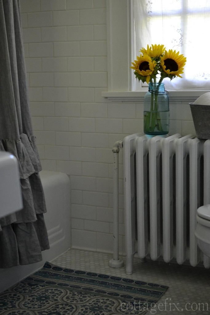 Cottage Fix blog - classic white cottage bathroom with sunflowers