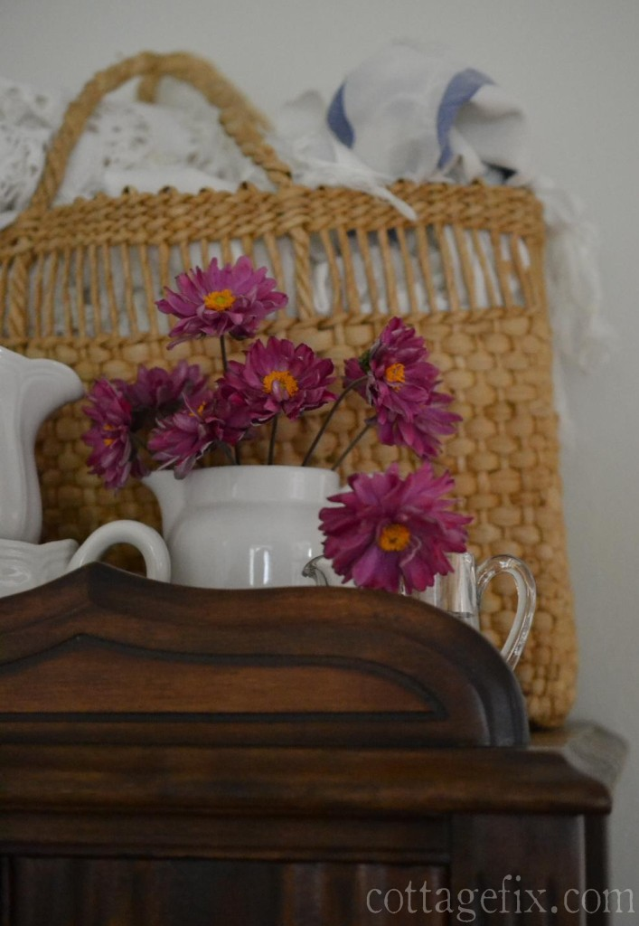 Cottage Fix blog - beach bag, ironstone, and hot pink blooms