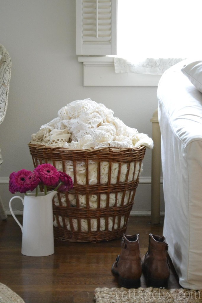 Cottage Fix blog - rich fuchsia blooms and a basket filled with crochet