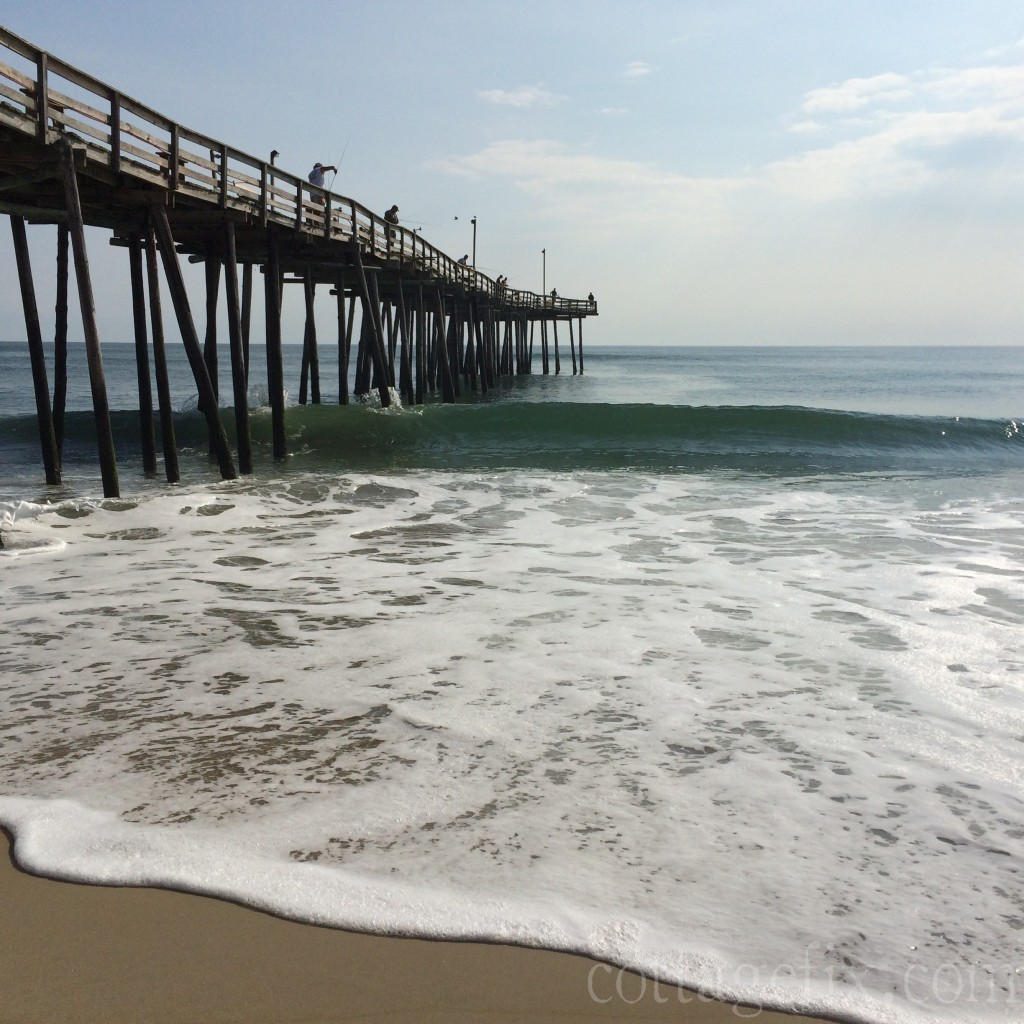 Cottage Fix blog - waves and pier in South Nags Head, NC