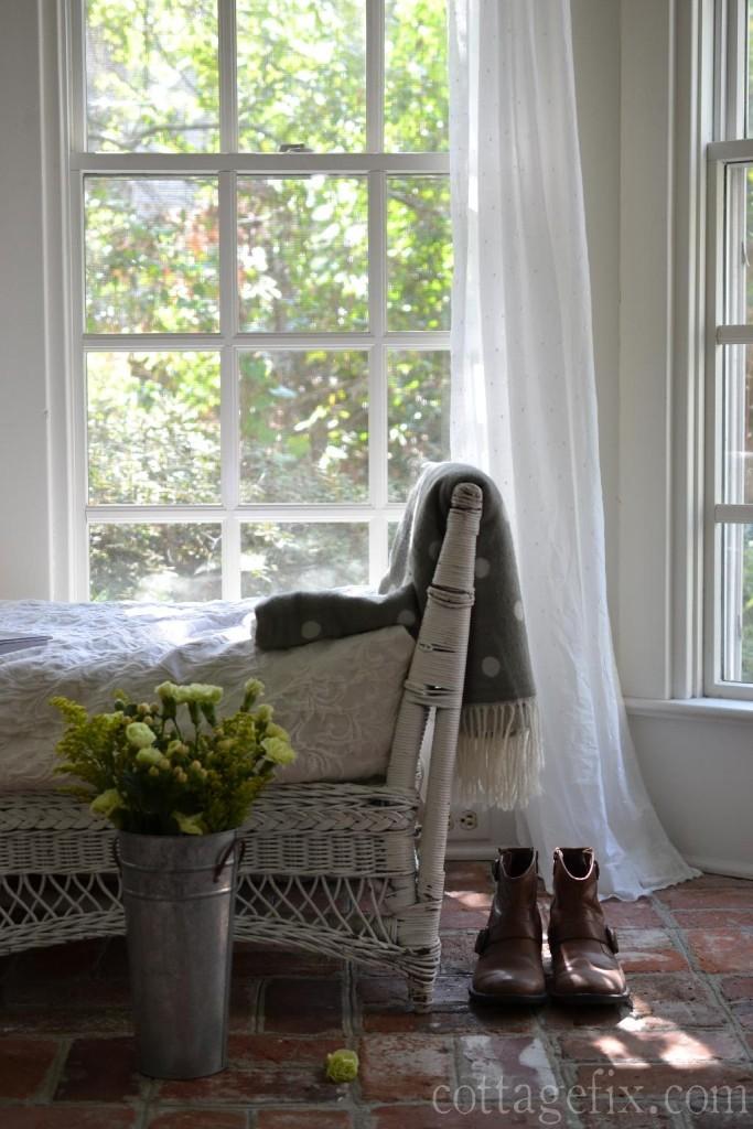 Cottage Fix blog - Friday Flower Power, chartreuse bouquet on the cottage sun porch