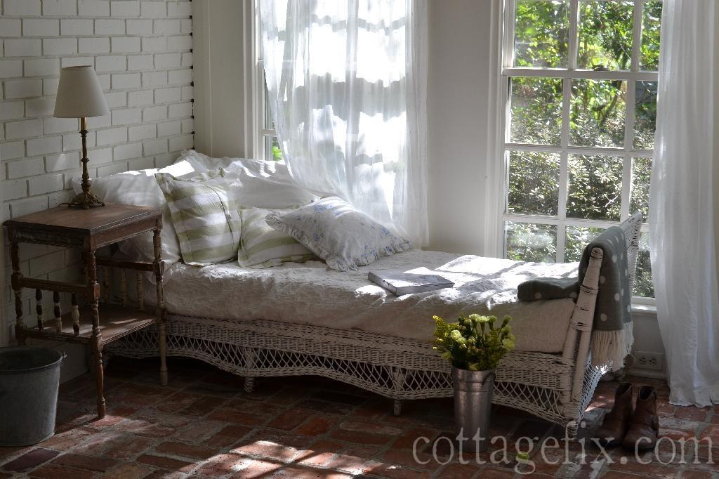 Cottage Fix blog - stripes, floral, polka dots, and breezy curtains