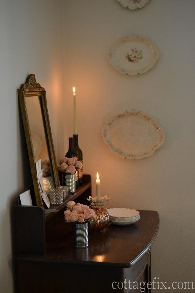 Cottage Fix blog - a romantic autumn vignette with recycled goods
