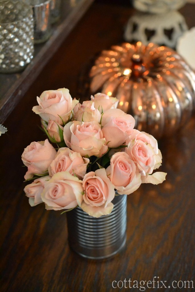 Cottage Fix blog - tin can with blush spray roses