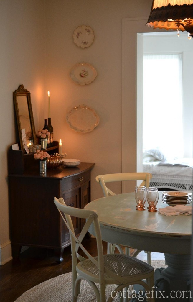 Cottage Fix blog - romantic dining room with autumn vignette