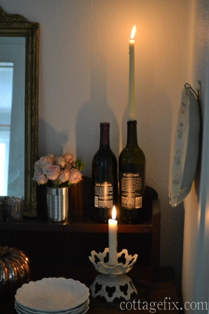 Cottage Fix blog - wine bottle candle holder