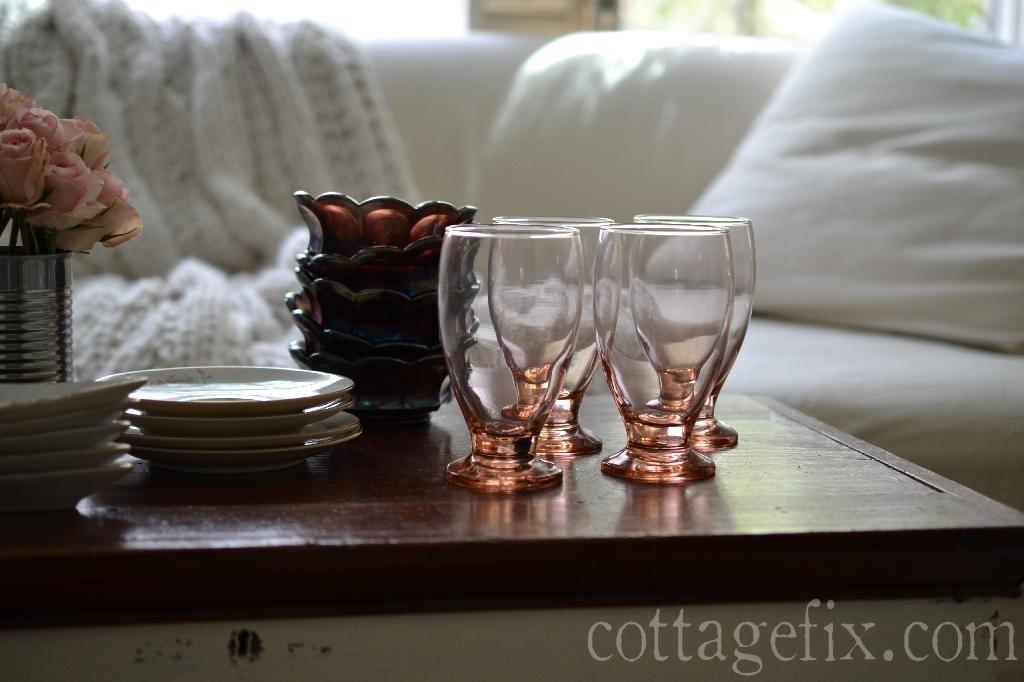 Cottage Fix blog - dollar store pink goblets