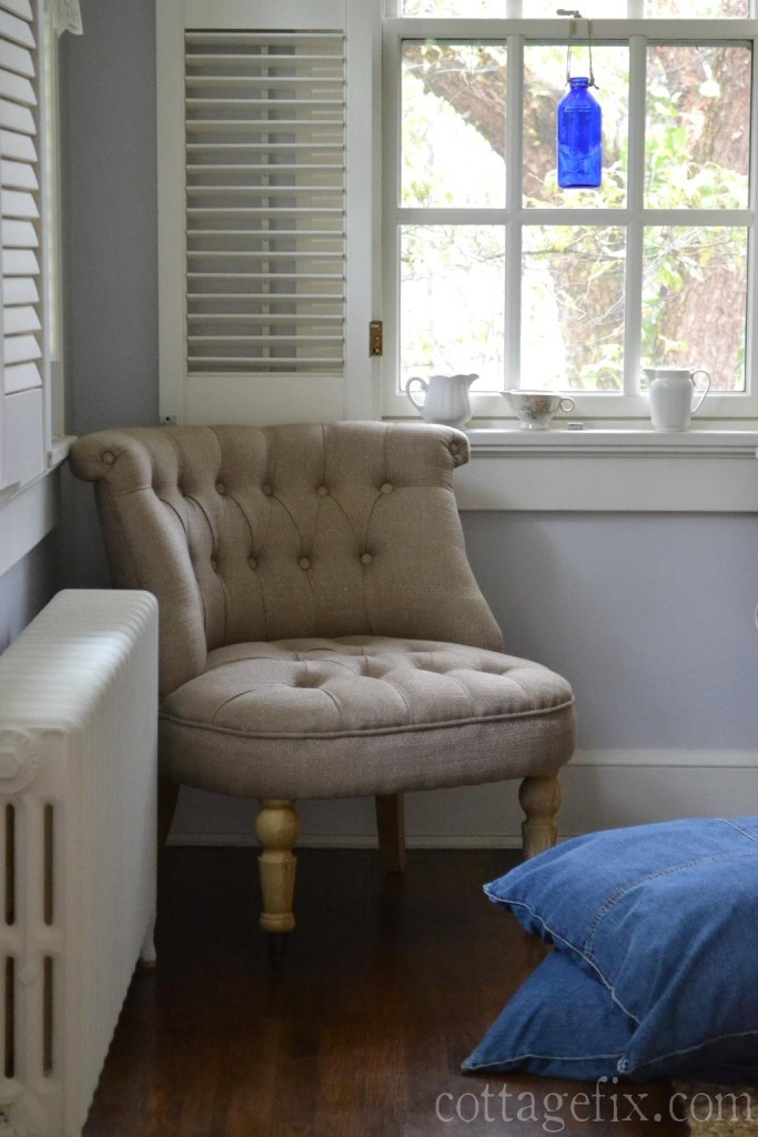 Cottage Fix blog - French-ish chair, denim floor pillows, and vintage accessories