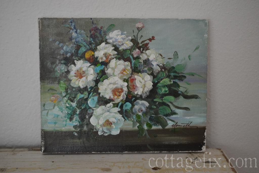 Cottage Fix blog - pretty vintage finds; oil on canvas