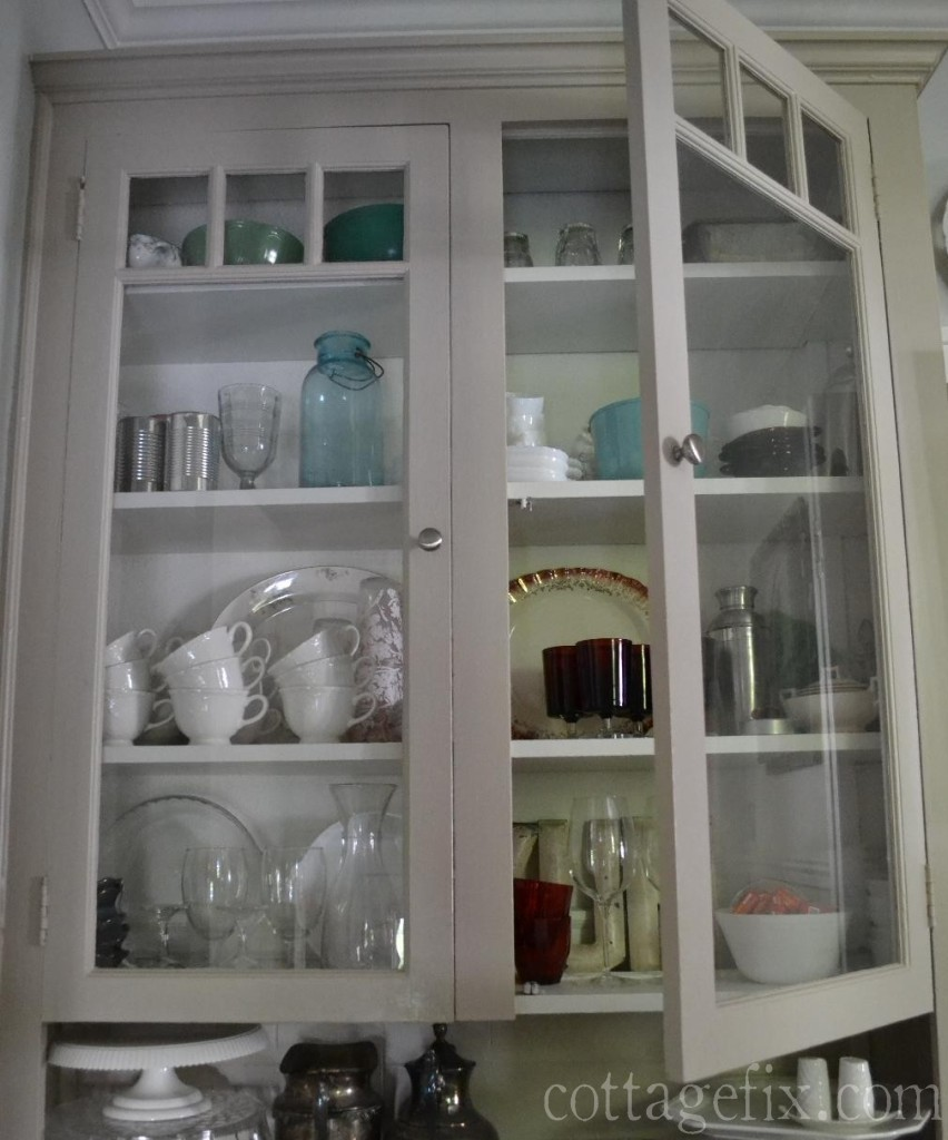 Cottage Fix blog - hutch filled with everyday tableware and vintage treasures