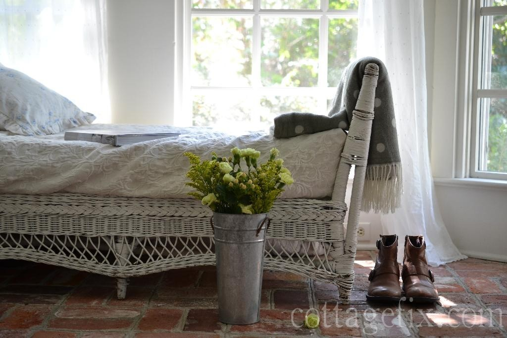 Cottage Fix blog - Friday Flower Power, chartreuse blooms on the sun porch
