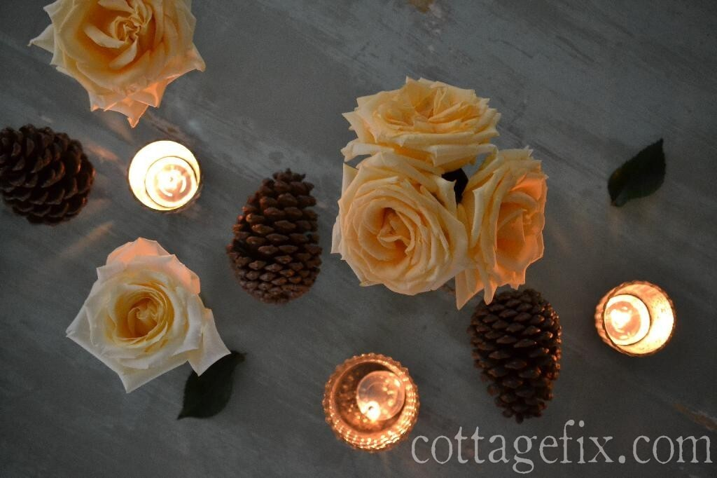 Cottage Fix blog - pine cones, roses, and candlelight for a fall tablescape