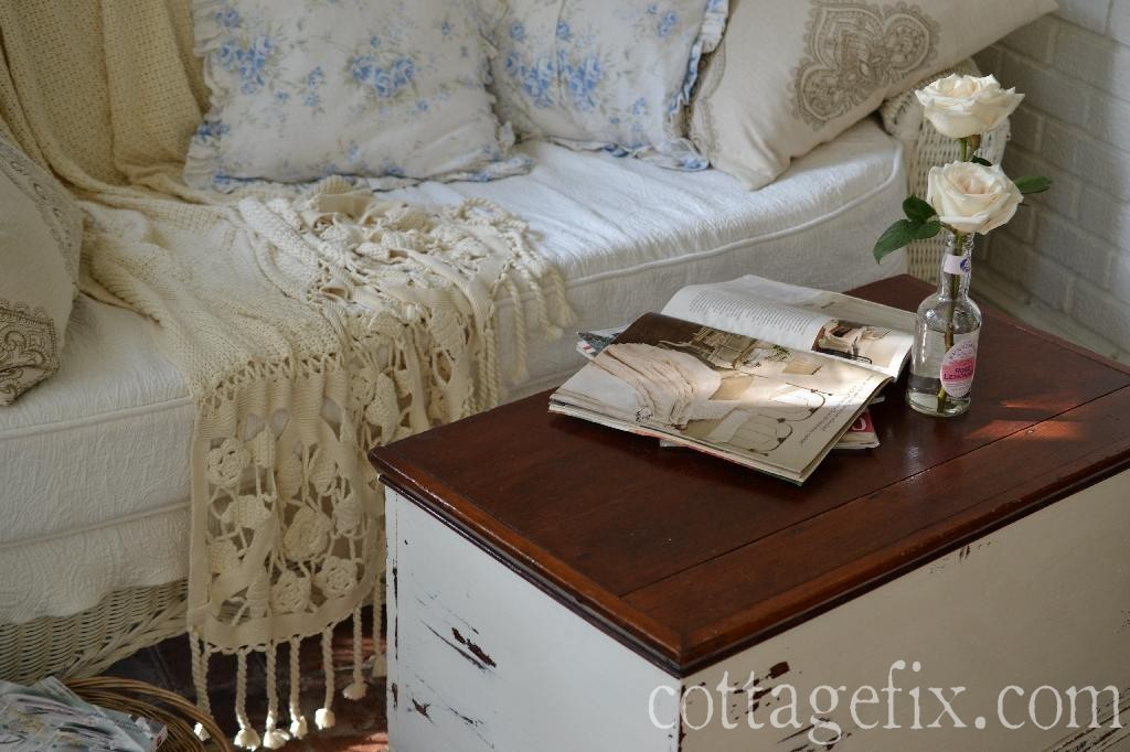 Cottage Fix blog - warm whites and shabby chic blue floral