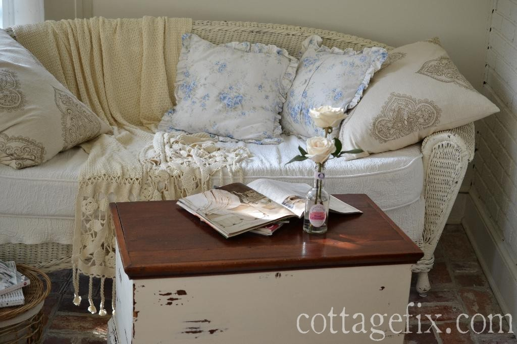 Cottage Fix blog - shabby chic British Rose, cream throw blanket, and chippy paint trunk coffee table