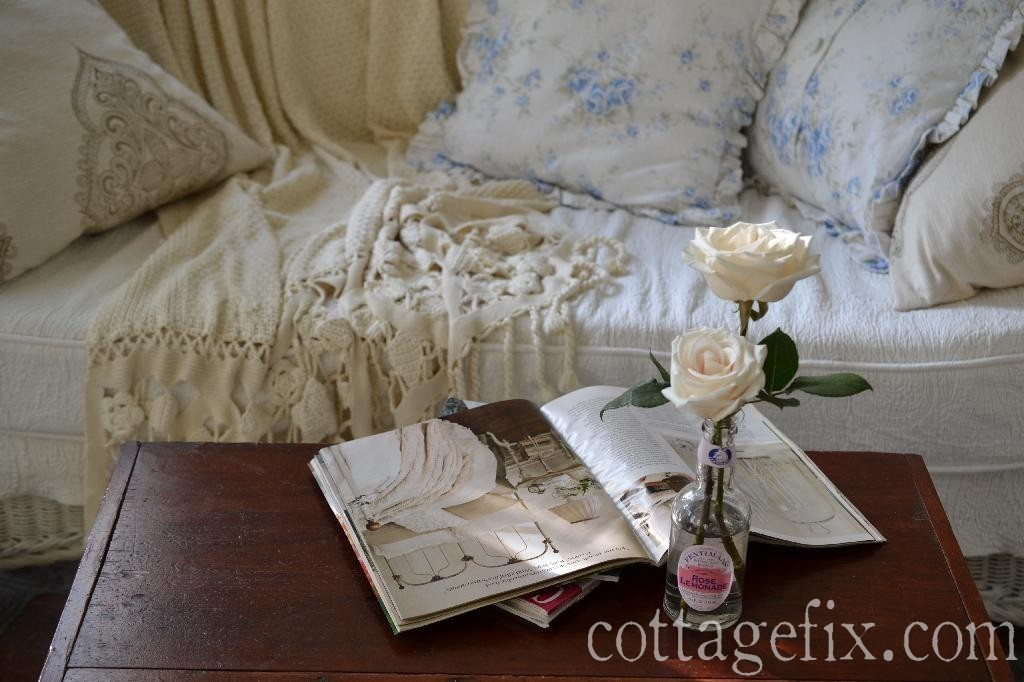 Cottage Fix blog - crochet throw, shabby chic British Rose, and white roses