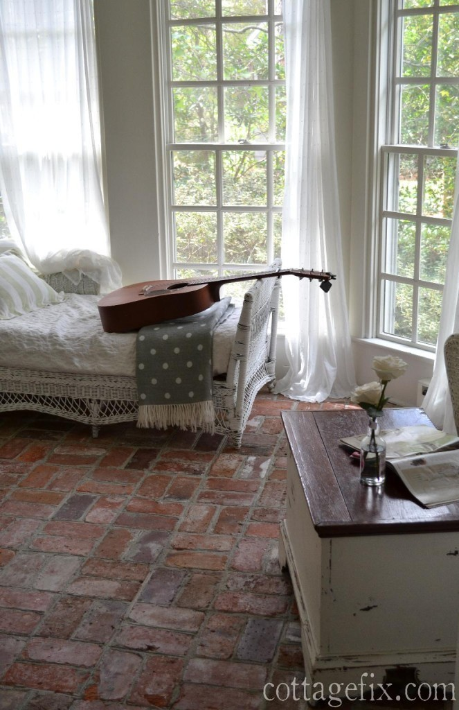 Cottage Fix blog - brick floors, windows, and wicker