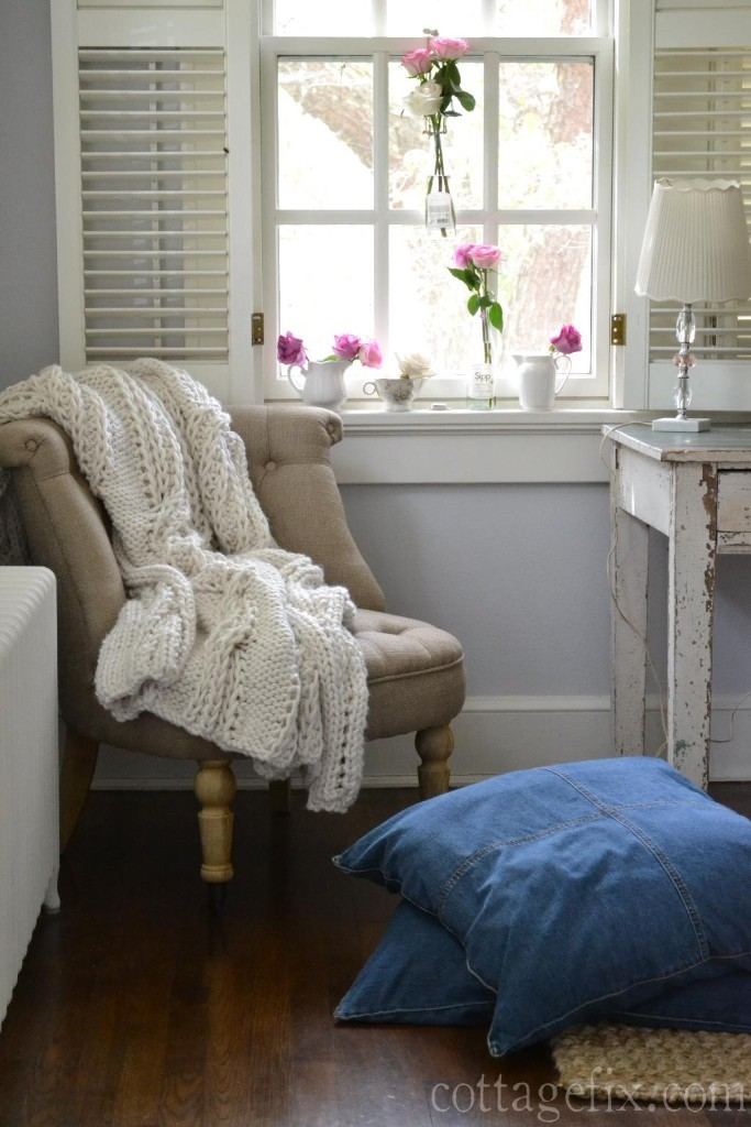 Cottage Fix blog - office corner with Frenchie chair and flower window art