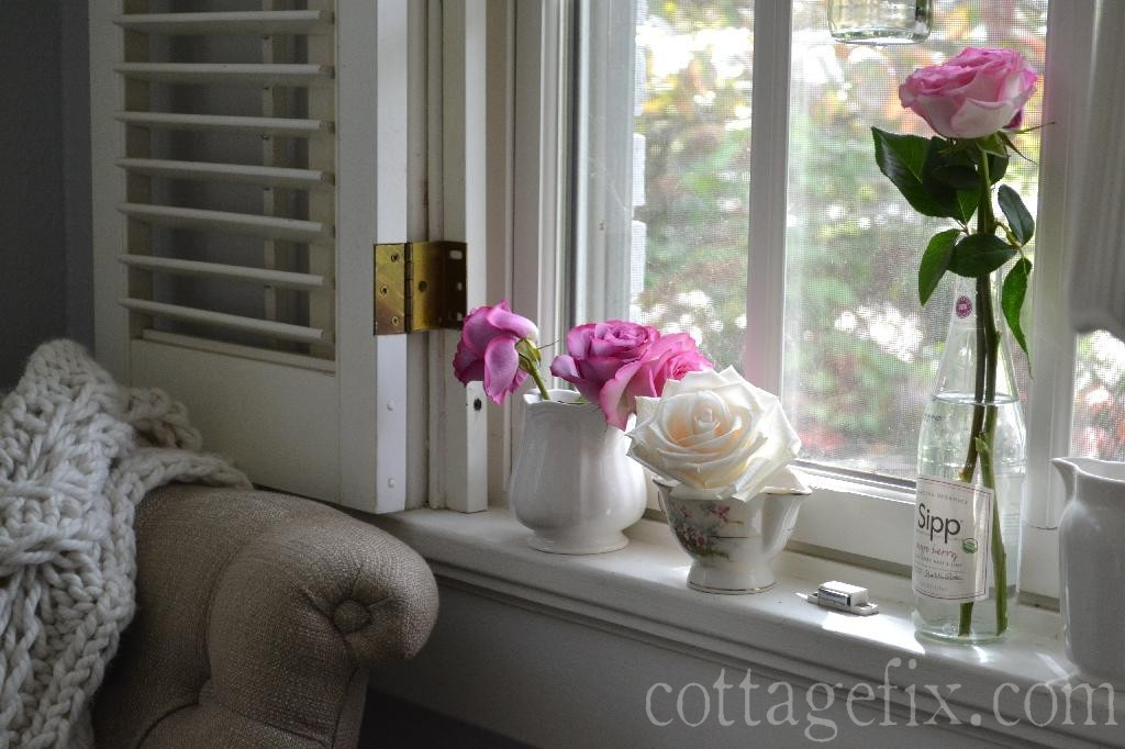 Cottage Fix blog - roses in the windowsill