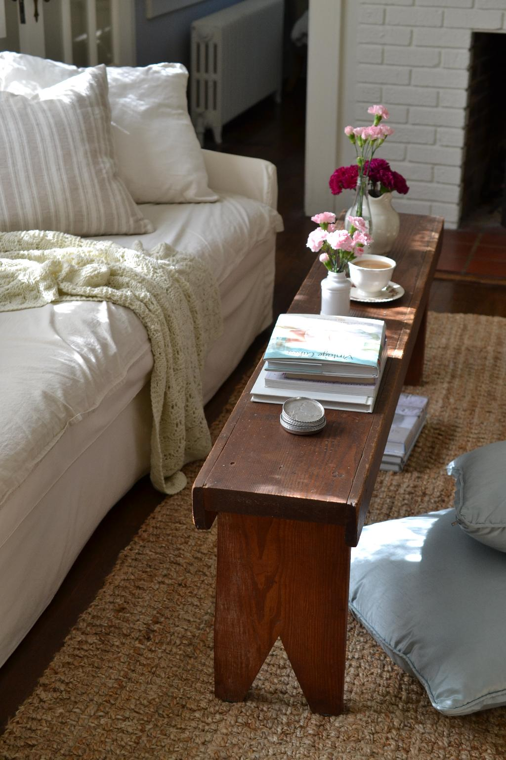 Cottage Fix blog - farm bench coffee table and flowers